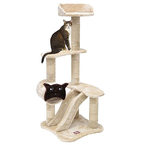 Faux Fur Cheap Kitty Condo Tower With Cat Face Tube